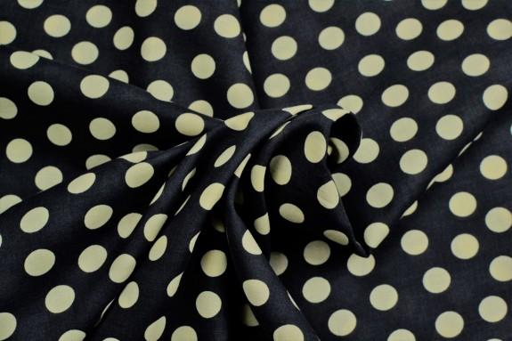 Cotonnade noire à pois beiges