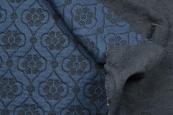 Maille Jacquard bleu nuit et noir