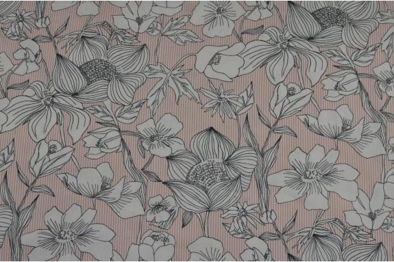 Popeline de coton lignéé rose et fleuri