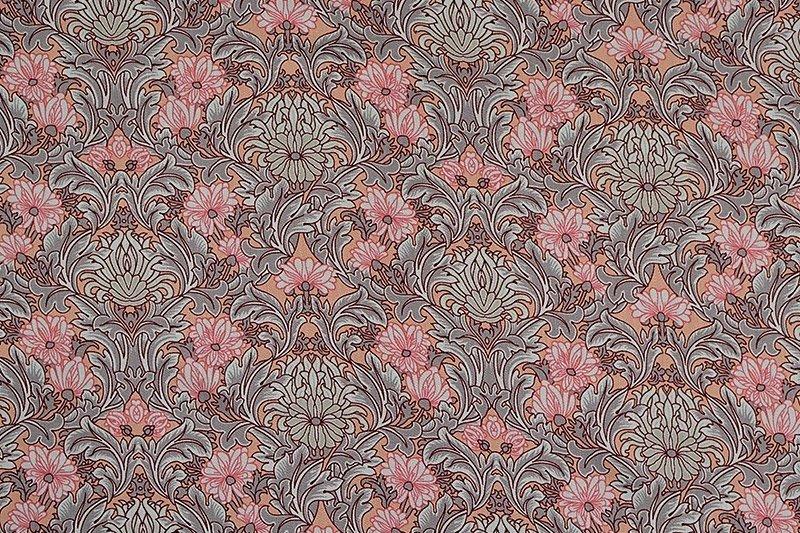 Satin de coton imprimé gris-rose