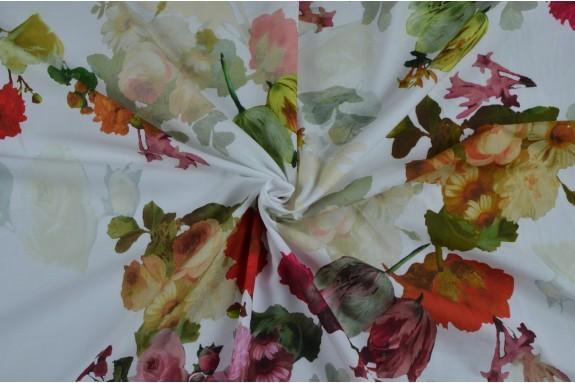 Voile de coton bouquet de fleurs