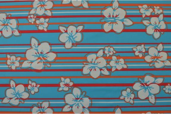 Lycra rayé fleuri bleu