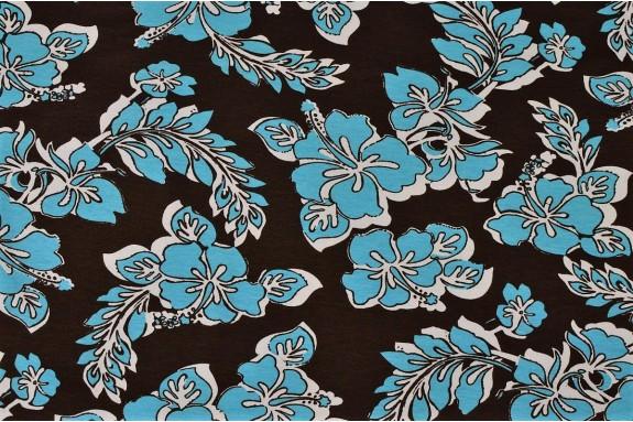 Jersey fleurs turquoises fond marron
