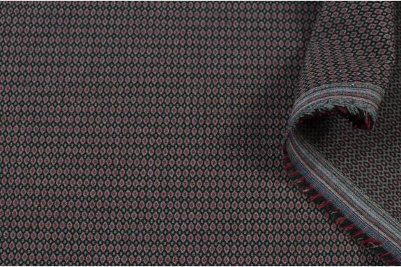 Tissu petit motif gris bordeaux