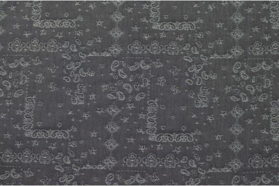Jeans gris noir brodé