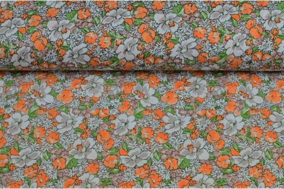 Cotonnade fleurie tons orangés