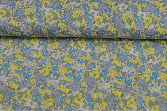 Cotonnade fleurie tons bleus verts