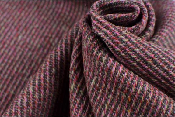 Tissu tramé vieux rose et marron
