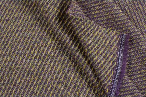 Tissu tramé jaune et violet