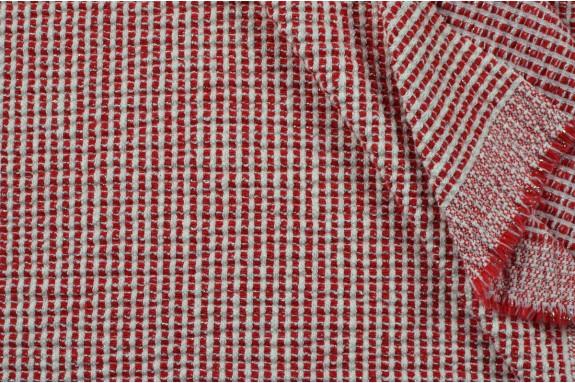 Jacquard gaufré rouge et écru