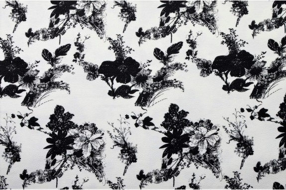 Maille écrue motifs noirs