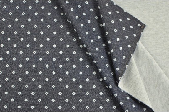 Jersey gris petit motifs blancs