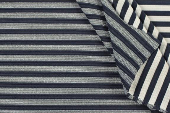 Jersey marinière lurex gris bleu