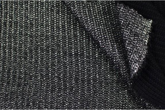 Tricot côtelé argenté