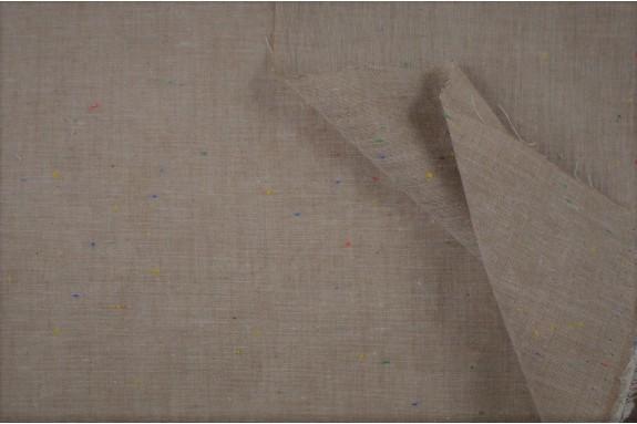 Voile de coton marron moucheté