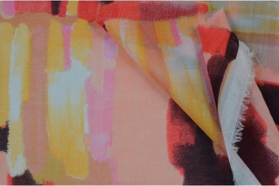 Voile de coton coloré orangé