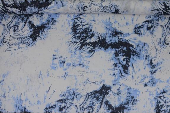 Voile de coton bleu et blanc