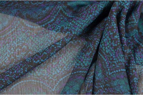 Crêpe Georgette violet et bleu vert
