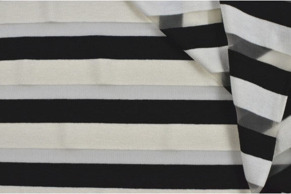 Jersey rayé écru et noir
